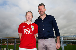 Flo Allen of Bristol City Women's FC poses with manager Willie Kirk - Mandatory byline: Rogan Thomson/JMP - 11/01/2016 - FOOTBALL - Stoke Gifford Stadium - Bristol, England - Bristol City Women's FC New Signings.