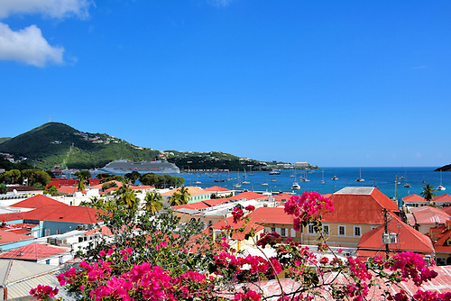 Red Roofs And Blue Harbor Of Charlotte Amalie, Saint Thomasu003cbr /u003e Downtown.