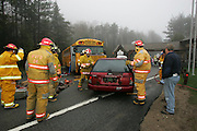 The Wilmington Volunteer Fire Department hosted a Mass Casualty Incident (MCI) drill at the toll house on the Whiteface Mt. highway Saturday, April 13 2006.  The scenario was a school bus and car accident involving 12 children and two adults with one entrapped in the vehicle.  The drill was a test for the entire emergency response system including the Essex County Dispatch, Local Fire and EMS agencies, AMC Lake Placid and Saranac Lake, and the North Country Life Flight.  Agencies participating in the drill included Wilmington Fire and Rescue, Lake Placid Ambulance, Lake Placid Fire, Ausable Forks Ambulance, Keen Fire Department Ambulance, NYS Forest Rangers, AMC Lake Placid and Saranac Lake, and the North Country Life Flight Helicopter.