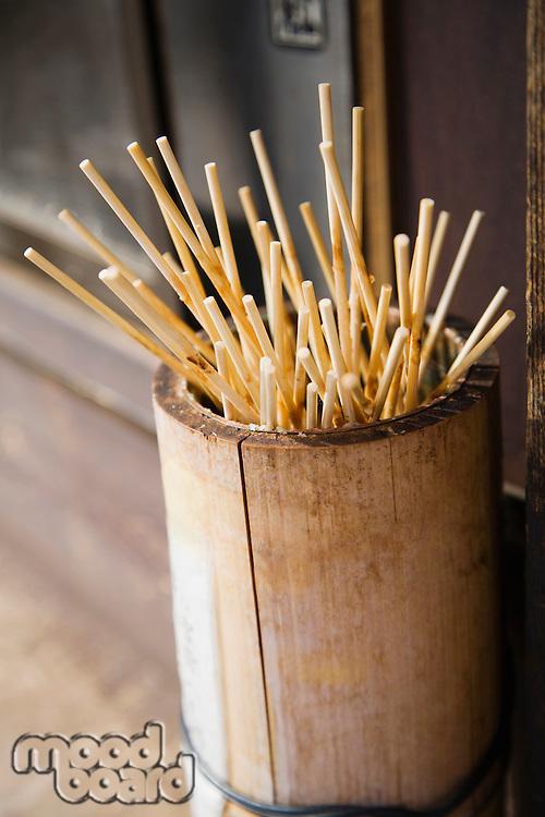 Japan Takayama Skewers for Japanese dumplings (Dango) in wooden bucket