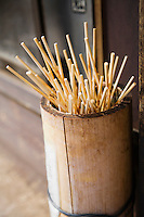 Japan Takayama Skewers for Japanese dumplings (Dango) in wooden bucket