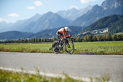 Anna van der Breggen (NED) on her way to second place at UCI Road World Championships 2018 - Elite Women's ITT, a 27.7 km individual time trial in Innsbruck, Austria on September 25, 2018. Photo by Chris Auld/velofocus.com