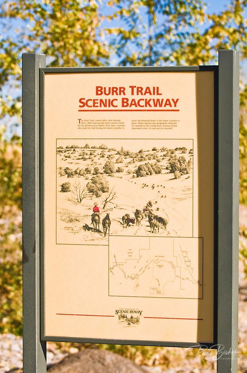 Interpretive sign for the Burr Trail Scenic Backway in Boulder, Grand Staircase-Escalante National Monument, Utah