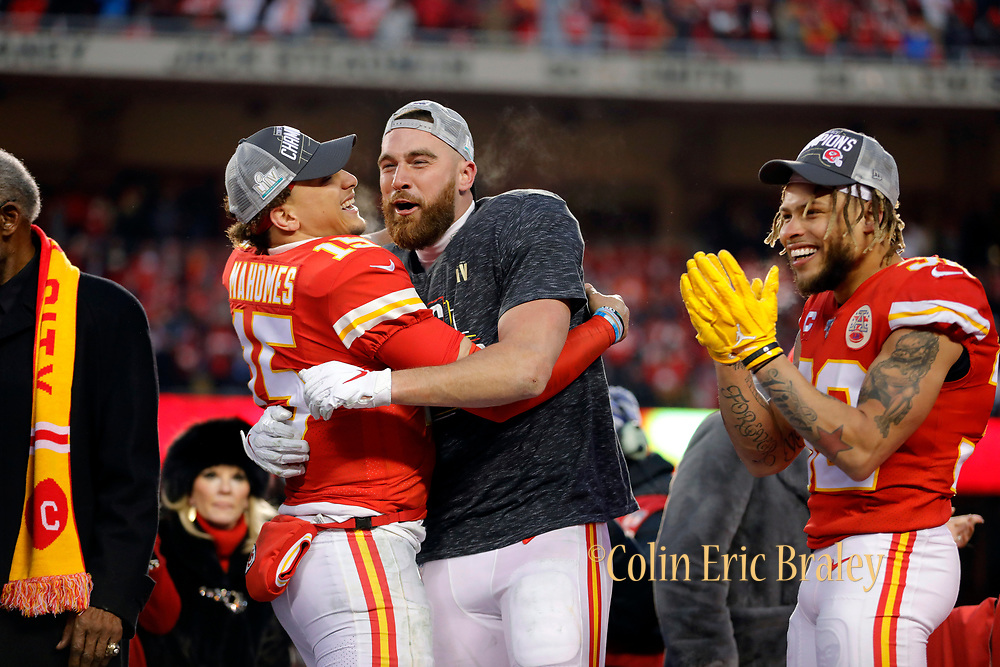 Kansas City Chiefs' Patrick Mahomes, left, Travis Kelce, center, and Tyrann Mathieu, right, during celebrations after winning the NFL, AFC Championship football game against the Tennessee Titans, Sunday, Jan. 19, 2020, in Kansas City, MO. The Chiefs won 35-24 to advance to Super Bowl 54. (AP Photo/Colin E. Braley) Colin Eric Braley Photography