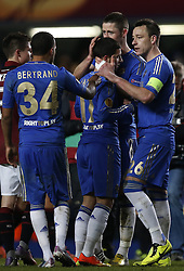 21.02.2013, Stamford Bridge, London, ENG, UEFA Europa League, FC Chelsea vs Sparta Prag, 1. Runde, im Bild Eden Hazard (C) of Chelsea celebrates his goal with teammates John Terry(1st R), Gary Cahill (2nd R) and Ryan Bertrand (1st L during UEFA Europa League knockout round 1st leg match between Chelsea FC and Sparta Prag at the Stamford Bridge, London, Great Britain on 2013/02/21. EXPA Pictures © 2013, PhotoCredit: EXPA/ Propagandaphoto/ Wang Lili..***** ATTENTION - OUT OF ENG, GBR, UK *****