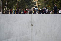October 24, 2016 - Harmanli, Bulgaria - Near 1000 refugees were rising on rebellion in the refugee camp of the Bulgarian town of Harmanli, near 250 kilometres from the Bulgarian capital of Sofia on October 24, 2016. The requests of the migrants were for leaving the camp and the country and going to Serbia. On the place are working a lot of spec policemen, gendarmerie, border police and military Harmanli, Bulgaria on October 24, 2016  (Credit Image: © Hristo Rusev/NurPhoto via ZUMA Press)