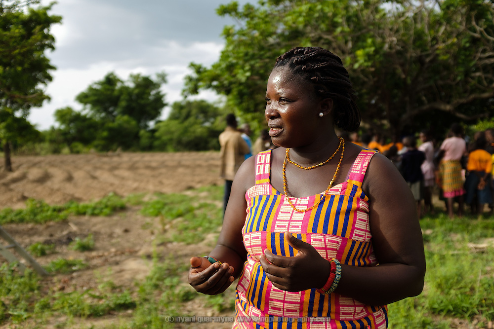 "Pognaa Napog Kpintaatobo I during an interview in her village of Baazing in the Upper West region of Ghana on 26 June 2105. A pognaa is responsible, in particular, for the wellbeing of women and children in her area of authority. While the title translates as ""woman chief"", in practice her authority is  subject to a male chief. The role of the pognamine (plural of pognaa) is being revived after having been suppressed during the colonial era, and they are increasingly seen as a force for development."