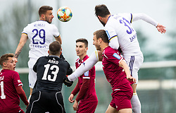 Aleš Mertelj of Triglav vs Saša Ivković of Maribor during Football match between NK Triglav and NK Maribor in 25th Round of Prva liga Telekom Slovenije 2018/19, on April 6, 2019, in Sports centre Kranj, Slovenia. Photo by Vid Ponikvar / Sportida