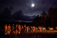 Alexis Pike, family and friends dance under the rising moon Saturday.