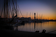 Sunset in Barcelona Port
