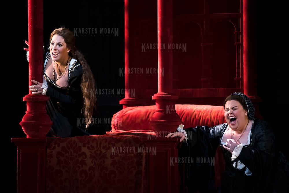 September 23, 2015 - New York, NY : From left, Sondra Radvanovsky (as Anna Bolena) and Jamie Barton (as Jane Seymour) perform in a dress rehearsal for Gaetano Donizetti's 'Anne Bolena' at the Metropolitan Opera at Lincoln Center on Wednesday. CREDIT: Karsten Moran for The New York Times