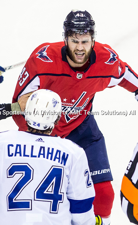 WASHINGTON, DC - MAY 21: Washington Capitals right wing Tom Wilson (43) confronts Tampa Bay Lightning right wing Ryan Callahan (24) during the first period during game 6 of the NHL Eastern Conference  Finals between the Washington Capitals and the Tampa Bay Lightning, on May 21, 2018, at Capital One Arena, in Washington D.C.<br /> (Photo by Tony Quinn/Icon Sportswire)