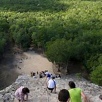 Jungle view from atop the Nohoch Mul pyramid at the Mayan ruins at Coba.