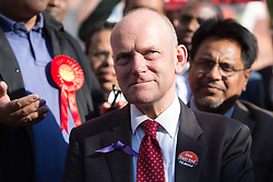 © Licensed to London News Pictures. 28/04/2014. London, UK. John Biggs attends a rally to canvass support for his Labour campaign to become the Mayor of Tower Hamlets in the upcoming May elections at Cable Street in Shadwell, East London on 28th April 2014. Photo credit : Vickie Flores/LNP