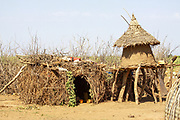 Huts at the Daasanach tribe village, Omo Valley, Ethiopia, Africa