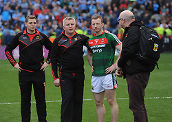 Stephen Rochford and Colm Boyle at fulltime after sunday&rsquo;s All Ireland final.<br /> Pic Conor McKeown