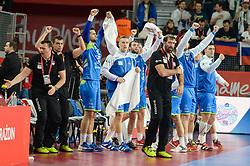 Team of Slovenia celebrates during handball match between National teams of Slovenia and Denmark on Day 2 in Main Round of Men's EHF EURO 2018, on January 19, 2018 in Arena Varazdin, Varazdin, Croatia. Photo by Mario Horvat / Sportida
