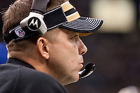 28 November 2011: Head coach Sean Payton of the New Orleans Saints coaches against the New York Giants during the Saints 49-24 victory over the Giants at the Mercedes-Benz Superdome in New Orleans, LA.