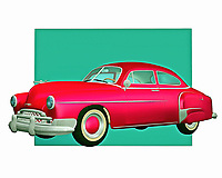 When different people talk about the greatest car manufacturers of all time, Chevy is going to be one of the first names that come to mind. This classic Chevy design is a vintage car lover's dream. It has been brought to remarkable life in the form of this digital painting.