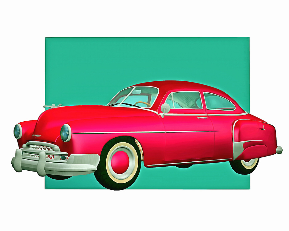 When different people talk about the greatest car manufacturers of all time, Chevy is going to be one of the first names that come to mind. This classic Chevy design is a vintage car lover's dream. It has been brought to remarkable life in the form of this digital painting. .<br />
