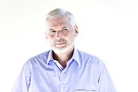 caucasian senior man portrait smile sulk isolated studio on white background