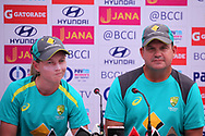 Meg Lanning captain of Australia and Australia coach Matthew Mott speaks during the India team press conference held at the Reliance Cricket Stadium in Vadodara,  ahead of the first ODI match between India and Australia on the 11th March 2018<br /> <br /> <br /> Photo by Vipin Pawar / BCCI / SPORTZPICS