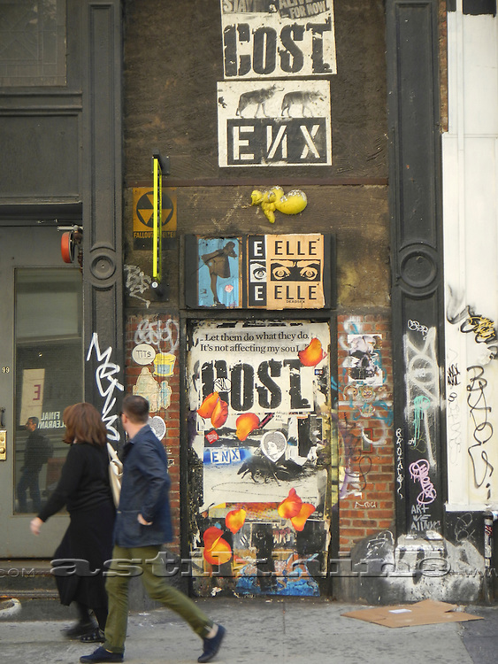 Posters on a wall in Manhattan, New York City