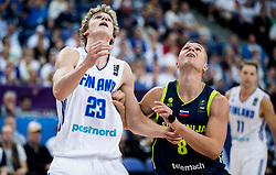 Lauri Markkanen of Finland vs Edo Muric of Slovenia during basketball match between National Teams of Finland and Slovenia at Day 3 of the FIBA EuroBasket 2017 at Hartwall Arena in Helsinki, Finland on September 2, 2017. Photo by Vid Ponikvar / Sportida