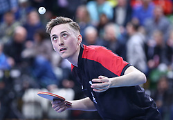 February 23, 2018 - London, England, United Kingdom - Liam PITCHFORD of England .during 2018 International Table Tennis Federation World Cup match between Liam PITCHFORD of England against Mohamed EL-BEIALI of Egypt at Copper Box Arena, London  England on 23 Feb 2018. (Credit Image: © Kieran Galvin/NurPhoto via ZUMA Press)