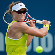August 16, 2014, New Haven, CT:<br /> Samantha Stosur hits a backhand during a match against Kurumi Nara on day four of the 2014 Connecticut Open at the Yale University Tennis Center in New Haven, Connecticut Monday, August 18, 2014.<br /> (Photo by Billie Weiss/Connecticut Open)