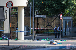 © Licensed to London News Pictures. 04/06/2017. London, UK. Medical equipment abandoned on the corner of Thale Street near Borough Market after a terrorist incident in which seven people are reported to have been killed. A white van veered off the road hitting a number of pedestrians before several men attacked people with knives. Photo credit: Rob Pinney/LNP