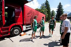 Miha Zupan, Goran Jagodnik, Matjaz Smodis, Zoran Dragic and Matjaz Vezjak during filming of video for Eurobasket Lithuania 2011 of Slovenian National Basketball team during training camp in Kranjska Gora, on July 12, 2011, in Kranjska Gora, Slovenia. (Photo by Vid Ponikvar / Sportida)