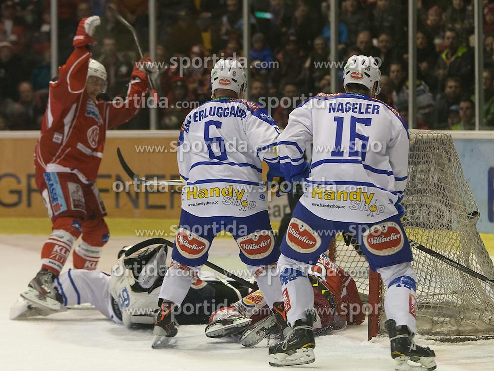 26.12.2013, Stadthalle, Klagenfurt, AUT, EBEL, KAC vs EC VSV, 58. Runde, im Bild 1:0 für den KAC, David Schuller (Kac, #45), Tylor Spurgeon (Kac, #9), Gerhard Unterluggauer (VSV, #6), Jean-Philippe Lamoureux (VSV, #1), Daniel Nageler (VSV, #16) // during the Erste Bank Icehockey League 58th Round match betweeen EC KAC and EC VSV at the City Hall, Klagenfurt, Austria on 2013/12/26. EXPA Pictures © 2013, PhotoCredit: EXPA/ Gert Steinthaler