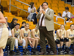 Lincoln head coach Rob Hawkins cheers his team on against North Marion during a first round game at the Charleston Civic Center.