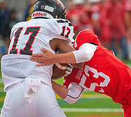 Souderton's Nick Curotto #53 tackles Hatboro Horsham's Chrishon Avery #17 after he picked up a fumble in the end zone in the first quarter of the Hatboro Horsham at Souderton football game Friday, September 06, 2019 at Souderton High School in Franconia, Pennsylvania. (WILLIAM THOMAS CAIN / PHOTOJOURNALIST)