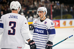 Jonathan Janil of France and Olivier Dame-Malka of France during the 2017 IIHF Men's World Championship group B Ice hockey match between National Teams of Norway and France, on May 6, 2017 in Accorhotels Arena in Paris, France. Photo by Vid Ponikvar / Sportida