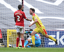 Milton Keynes Dons' Will Grigg celebrates scoring against Swindon Town at The County Ground - Photo mandatory by-line: Paul Knight/JMP - Mobile: 07966 386802 - 04/04/2015 - SPORT - Football - Swindon - The County Ground - Swindon Town v Milton Keynes Dons - Sky Bet League One