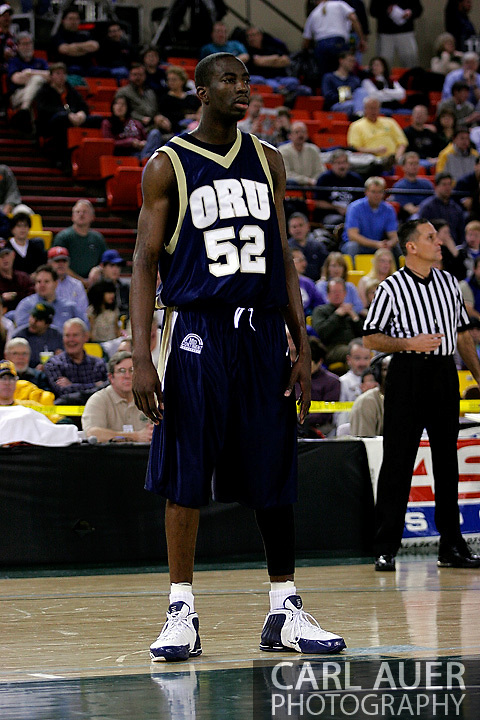 25 November 2005:  Yemi Ogunoye (52), a sophomore forward for Oral Roberts University in the ORU 73-70 loss to Marquette University at the Great Alaska Shootout in Anchorage, Alaska.