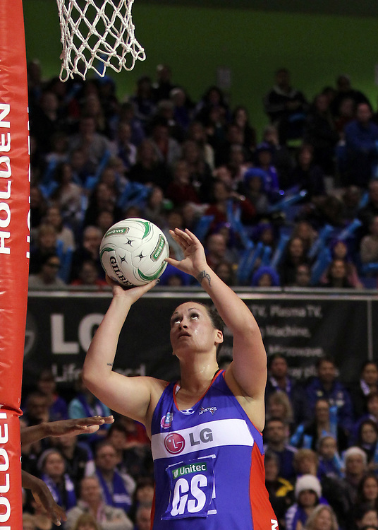 Mystics' Cathrine Latu in action against the Swifts in round 14 of the 2012 ANZ Netball Championship, Trusts Stadium, Auckland, New Zealand, Sunday, July 01, 2012.  Credit:SNPA / David Rowland