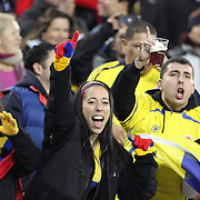 Colombia fans during the Brazil V Colombia International friendly football match at MetLife Stadium, New Jersey. USA. 14th November 2012. Photo Tim Clayton