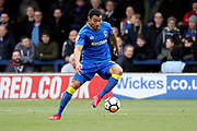 AFC Wimbledon defender Darius Charles (32) dribbling during the The FA Cup match between AFC Wimbledon and Charlton Athletic at the Cherry Red Records Stadium, Kingston, England on 3 December 2017. Photo by Matthew Redman.