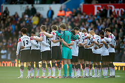 BIRMINGHAM, ENGLAND - Saturday, November 13, 2010: Manchester United's players observe a minute's silence to mark Remembrance Sunday before the Premiership match against Aston Villa at Villa Park. (Photo by David Rawcliffe/Propaganda)