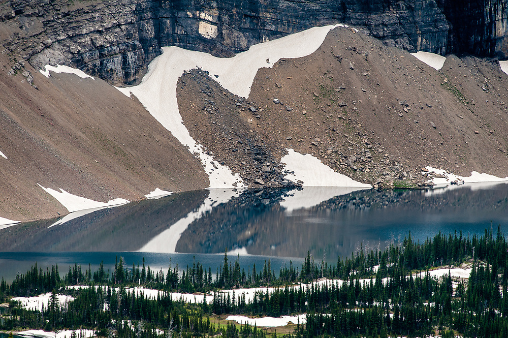 Abstract view of Hidden Lake from the Hidden Lake overlook in Glacier National Park