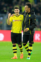 15.02.2014, Signal Iduna Park, Dortmund, GER, 1. FBL, Borussia Dortmund vs Eintracht Frankfurt, 21. Runde, im Bild Milos Jojic (Borussia Dortmund #14), Pierre-Emerick Aubameyang (Borussia Dortmund #17) gut gelaunt am Lachen, Emotion, Freude, Glueck // during the German Bundesliga 21th round match between Borussia Dortmund and Eintracht Frankfurt at the Signal Iduna Park in Dortmund, Germany on 2014/02/15. EXPA Pictures © 2014, PhotoCredit: EXPA/ Eibner-Pressefoto/ Schueler<br /> <br /> *****ATTENTION - OUT of GER*****