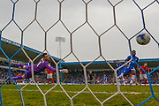 Gillingham goalkeeper Stuart Nelson sees shot go wide during the Sky Bet League 1 match between Gillingham and Coventry City at the MEMS Priestfield Stadium, Gillingham, England on 2 April 2016. Photo by Martin Cole.
