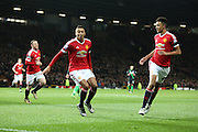 Jesse Lingard of Manchester United celebrates the opening goal  during the Barclays Premier League match between Manchester United and Stoke City at Old Trafford, Manchester, England on 2 February 2016. Photo by Phil Duncan.