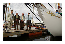 The surviving members of the Fairlie Yard next to the Bow of Clio while th eboats were in Largs...This the largest gathering of classic yachts designed by William Fife returned to their birth place on the Clyde to participate in the 2nd Fife Regatta. 22 Yachts from around the world participated in the event which honoured the skills of Yacht Designer Wm Fife, and his yard in Fairlie, Scotland...FAO Picture Desk..Marc Turner / PFM Pictures