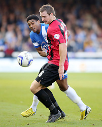 Peterborough United's Shaun Jeffers in action with Shrewsbury Town's Dave Winfield - Photo mandatory by-line: Joe Dent/JMP - Tel: Mobile: 07966 386802 19/10/2013 - SPORT - FOOTBALL - London Road Stadium - Peterborough - Peterborough United V Shrewsbury Town - Sky Bet League One