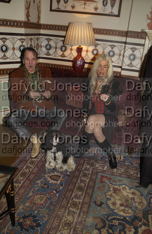 Ray Rough, ( Peggy Sue - dog) and Marilyn Coleman of the Virginia Creepers ClubPhilip Sallon and Bruce Fielding Joint birthday party. Home House. London. 12  November 2005 . ONE TIME USE ONLY - DO NOT ARCHIVE © Copyright Photograph by Dafydd Jones 66 Stockwell Park Rd. London SW9 0DA Tel 020 7733 0108 www.dafjones.com
