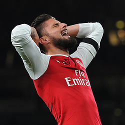 Olivier Giroud of Arsenal reacts to hitting the post during Arsenal vs Huddersfield, Premier League, 29.11.17 (c) Harriet Lander | SportPix.org.uk